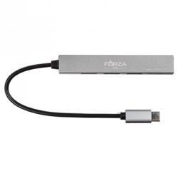 USB-хаб 4 в 1, 3xUSB 2.0, 1xMicro-SD, штекер Type-C, корпус металлик, пластик