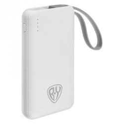 Аккумулятор мобильный, 3000мАч, USB, 1А, встроенный кабель iP/Micro-USB, пластик