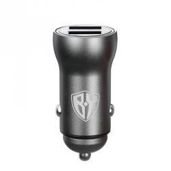 BY Зарядное устройство USB автомобильное, 12/24В, 2USB, 3.0А, Быстрая зарядка, металл