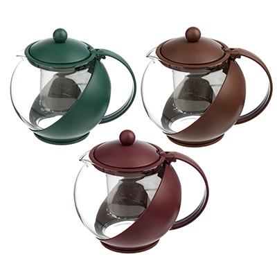 850-748 Чайник заварочный с сеточкой 1250 мл, стекло/пластик, 3 цвета