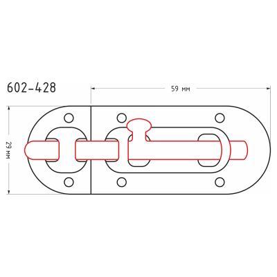 602-428 Шпингалет, сталь 59х29мм, хром