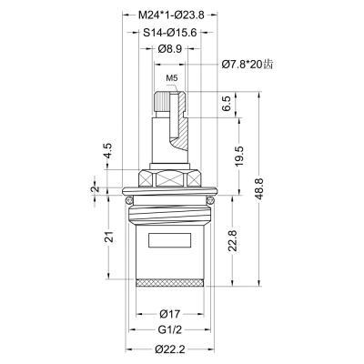 "575-189 Кран-букса для смесителя 1/2"", 20шл., шток 8х7мм, 180°, металлокерамика"