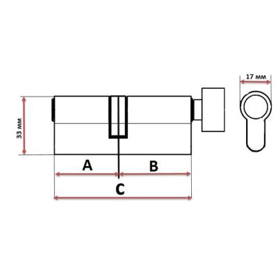 610-018 Сердцевина замка/ Цилиндровый механизм (алюминий/латунь) 60мм(30+30), кл-верт, 6кл (англ), хром