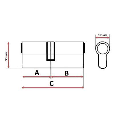 610-022 Сердцевина замка/ Цилиндровый механизм (алюминий/латунь) 60мм(30+30), кл-кл, 6кл (англ), хром
