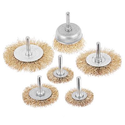 656-035 Набор щеток металл со шпильками 6 пр (40,50,65,75,100мм -пл.,50мм-чашка)