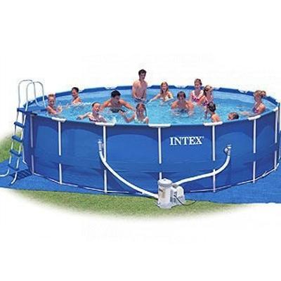 359-013 INTEX Бассейн каркас. 732*132см, насос, с-ма мор.воды, лест, тент, еж.ух,  очист, вол.сетка 54450