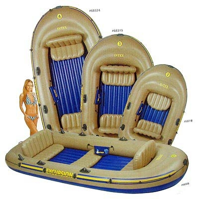 359-048 INTEX Лодка четырехместная EXCURSION; весла, насос, 315х165х43см, Возраст 6+, 68324