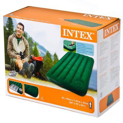 359-065 INTEX Кровать флок Downy, 99x191x22см, встр.насос, зеленый, 66927