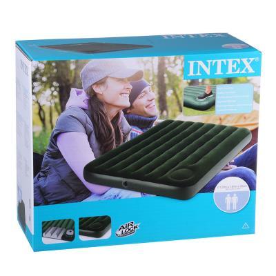 359-066 INTEX Кровать флок Downy, 137x191x22см, встр.насос, зеленый, 66928