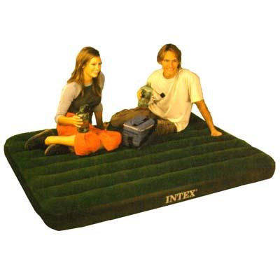 359-070 INTEX Кровать флок Prestige Downy, насос на батар, зеленый, 137х191х22см 66968