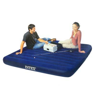 359-081 INTEX Кровать флок Classic Downy, 183x203x22см, синий, 68755