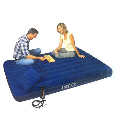 359-082 INTEX Кровать флок Classic Downy, 152x203x22см, две подушки, руч.насос, синий, 68765