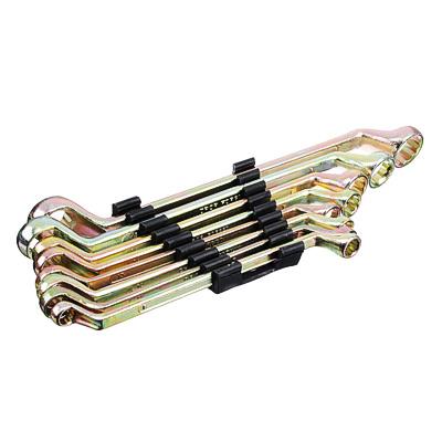 736-076 ЕРМАК Набор ключей накидных, 8 предм., 8x10 - 19x22мм, желтый цинк, пластик холдер