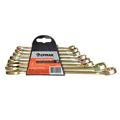 736-079 ЕРМАК Набор ключей рожково-накидных, 8 предм. 8-19мм, желтый цинк