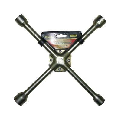 "766-006 ЕРМАК Ключ баллонный крестовой, 17-19-21-23 мм, 14"", усиленный, желтый цинк, SJ012Z"