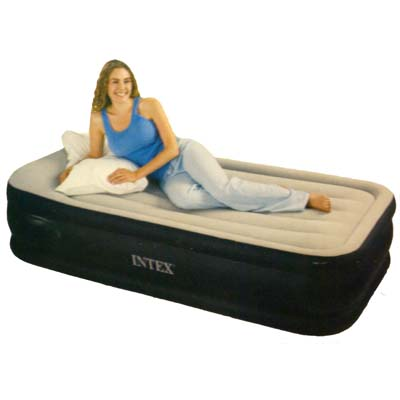 359-133 INTEX Кровать флок Deluxe Pillow Rest Raised с изгол., 99x191x43см, встр.элнасос, 67732
