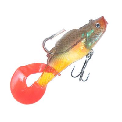 338-784 AZOR Мягкая приманка CH-D025 2-07, рыба виброхвост с 3 крючками, 105мм, 23гр, 3 шт в уп