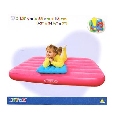359-138 INTEX Кровать детская флок с подушкой, заплатка, для 3-10 лет, 157*88*18см 48771