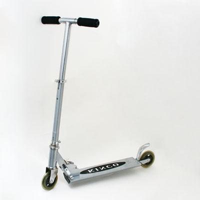 131-010 Самокат KINCO JL-2001BS, алюм 100%, колеса PU 98мм, серебристый