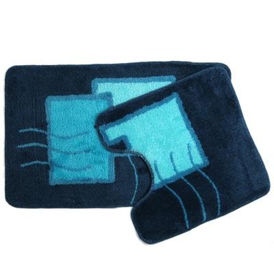 """462-154 VETTA Набор ковриков 2шт для ванной и туалета, акрил, 50x80см + 50x50см, """"Абстракция"""" синий, 07-030"""