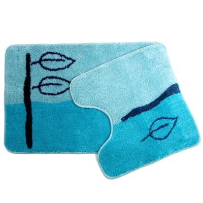"""462-155 VETTA Набор ковриков 2шт для ванной и туалета, акрил, 50х80см + 50х50см, """"Листья"""" голубой, SCF07-023"""
