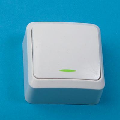 905-031 Выключатель одноклавишный с подсветкой, основание пластик, 10А 250В Fazenda 7121 PowerMan