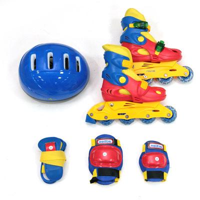 129-284 Action Коньки роликовые дет. с набором защиты (шлем, колени, локти, запяс) р.M(34-37), PW-129C, цвет