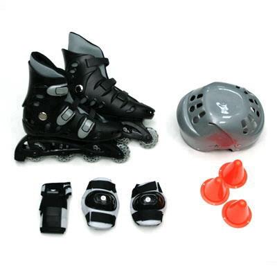 129-332 Action Коньки роликовые с набором защиты (шлем, колени, локти) р.35, PW-127, черно-серый