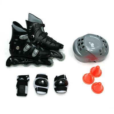 129-333 Action Коньки роликовые с набором защиты (шлем, колени, локти) р.36, PW-127, черно-серый