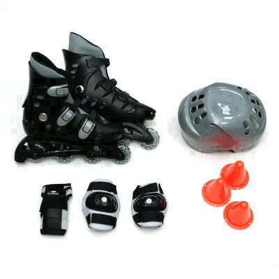 129-339 Action Коньки роликовые с набором защиты (шлем, колени, локти) р.42, PW-127, черно-серый