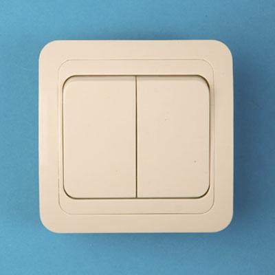 904-093 Выключатель двухклавишный, основание керамика, 10А 250В Classic 2023 (крем) PowerMan