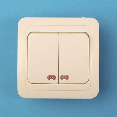 904-094 Выключатель двухклавишный, основание керамика, с подсветкой 10А 250В Classic 2123 (крем) PowerMan