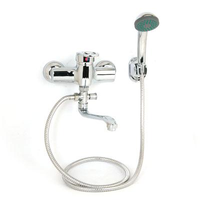 566-029 Смеситель Klabb 0304 для ванны, дл. изогн. излив, керам. картридж 40 мм, хром