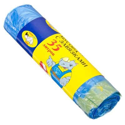 449-007 МУЛЬТИПЛАСТ Мешки для мусора с завязками 35л, 15шт, 10 микрон, арт.027003/960089