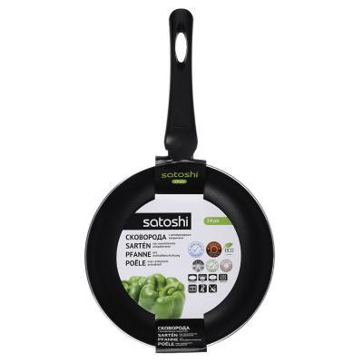 """846-014 Сковорода, антипригарное покрытие, индукция, d24 см, SATOSHI """"Графит"""""""