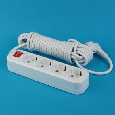 907-188 Удлинитель У10-8028F-4  4 гнезда, 5 м, с заземл., выкл., ПВС, сечение 1мм 10А 250В PowerMan
