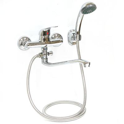 566-068 Смеситель Klabb 05 265 для ванны, дл. изогн. излив, керам. картридж 40 мм, хром