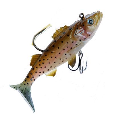 338-242 AZOR Мягкая приманка рыба премиум c крючками NWPE04 форель 100 мм, 25гр, 2 шт в уп.