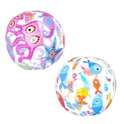 359-197 Мяч пляжный надувной, 51 см, 3 дизайна, INTEX Морские обитатели, 59040
