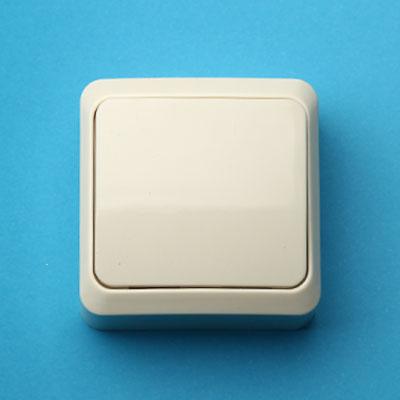 905-227 Выключатель одноклавишный, основание пластик, 10А 250В Fazenda 7021 (крем) PowerMan