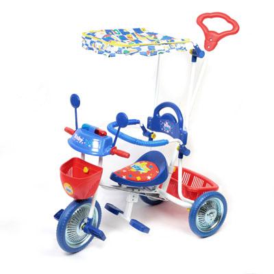 195-387 Велосипед 506-1 3х колёсный (ручка, тент, подставка д/ног)