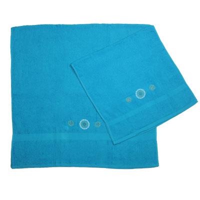 484-001 VETTA Набор полотенец 2шт банных с вышивкой 45x90см + 70x140см, Узор голубой
