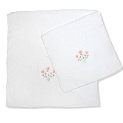 484-004 VETTA Набор полотенец 2шт банных с вышивкой 45x90см + 70x140см, Цветок белый