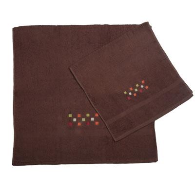 484-005 VETTA Набор полотенец 2шт банных с вышивкой 45x90см + 70x140см, Шашки коричневый