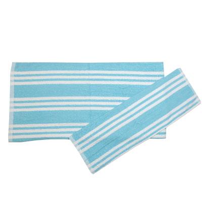 484-009 VETTA Набор полотенец 2шт банных 40x60см + 70x140см, в рулоне Полосатый голубой