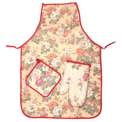 "439-038 Набор кухонный 3 пр. (варежка, прихватка, фартук), ""Цветы"""