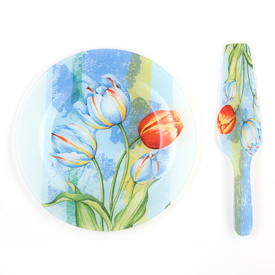 818-561 VETTA Набор для торта 2 пр., стекло, 25см, в подар.уп, Лилиан JR10/2 PDQ
