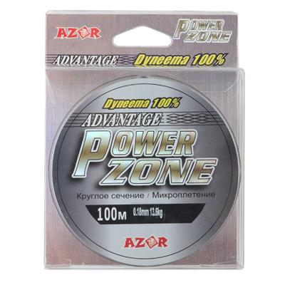 338-314 AZOR Леска плетенка Power Zone (Dyneema) серо-зеленая 0,20мм, 15,7кг