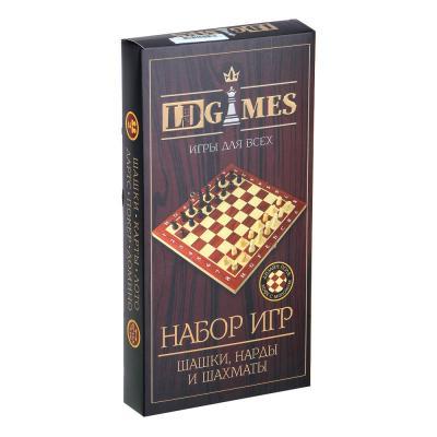 341-134 Набор игр 3 в 1 (шашки, шахматы, нарды) дерево, 29x29см, арт.2115