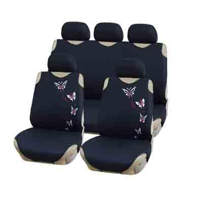 768-735 NEW GALAXY Чехлы автомобильные универ. 9 пр., тип майка, ПЭ, поролон 2мм, черный-бабочки, 6218